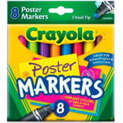 Crayola® Poster Markers, Chisel Tip, Washable, Assorted, 8/Set