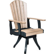 """Generations Dining Arm Swivel Chair, Beige/Black, 18""""L x 18""""W x 39""""H"""