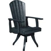 "Generations Dining Arm Swivel Chair, Black, 18""L x 18""W x 39""H"