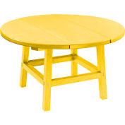 "CR Plastics 32"" Round Table Top with 17"" Cocktail Table Legs - Yellow - Generation Series"