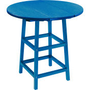"CR Plastics 32"" Round Table Top with 40"" Pub Table Legs - Blue - Generation Series"