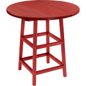 "CR Plastics 32"" Round Table Top with 40"" Pub Table Legs - Burgundy - Generation Series"