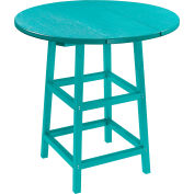 "CR Plastics 32"" Round Table Top with 40"" Pub Table Legs - Turquoise - Generation Series"
