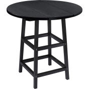 "CR Plastics 32"" Round Table Top with 40"" Pub Table Legs - Black - Generation Series"