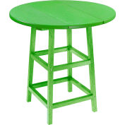 "CR Plastics 32"" Round Table Top with 40"" Pub Table Legs - Kiwi Green - Generation Series"