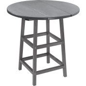 "CR Plastics 32"" Round Table Top with 40"" Pub Table Legs - Slate Gray - Generation Series"