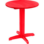 "CR Plastics 32"" Round Table Top with a 40"" Pub Pedestal Base - Red - Generation Series"