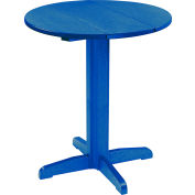 "CR Plastics 32"" Round Table Top with a 40"" Pub Pedestal Base - Blue - Generation Series"