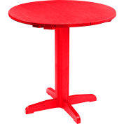 "CR Plastics 40"" Round Table Top with 40"" Pub Pedestal Base - Red - Generation Series"