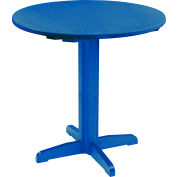 "CR Plastics 40"" Round Table Top with 40"" Pub Pedestal Base - Blue - Generation Series"