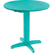 "CR Plastics 40"" Round Table Top with 40"" Pub Pedestal Base - Turquoise - Generation Series"