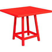 """CR Plastics 40"""" Square Table Top with 40"""" Pub Table Legs Red Generation Series by Pub Tables"""