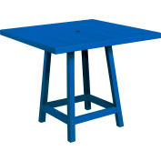 "CR Plastics 40"" Square Table Top with 40"" Pub Table Legs Blue Generation Series"