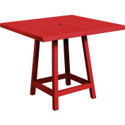 "CR Plastics 40"" Square Table Top with 40"" Pub Table Legs Burgundy Generation Series by Pub Tables"