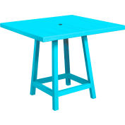 "CR Plastics 40"" Square Table Top with 40"" Pub Table Legs Turquoise Generation Series"