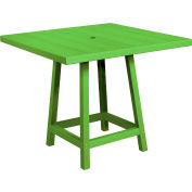 "CR Plastics 40"" Square Table Top with 40"" Pub Table Legs Kiwi Green Generation Series by Pub Tables"