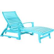 "St. Tropez Chaise Lounge w/wheels, Aqua, 72""L x 24""W x 36""H"