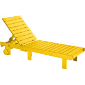 "Generations Chaise Lounge with wheels, Yellow, 78""L x 24""W x 36""H"