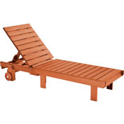 "Generations Chaise Lounge with wheels, Cedar, 78""L x 24""W x 36""H"