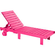 "Generations Chaise Lounge with wheels, Fuchsia, 78""L x 24""W x 36""H"