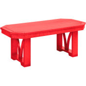 "St Tropez 42"" Rectangular Cocktail Table, Red, 42""L x 15""W x 17""H"