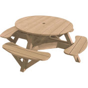 "Generations 51"" Round Picnic Table - Color Frame, Beige"