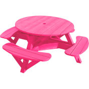 "Generations 51"" Round Picnic Table - Color Frame, Fuchsia"