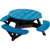 "Generations 51"" Round Picnic Table - Black Frame, Blue"