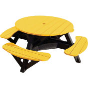 "Generations 51"" Round Picnic Table - Black Frame, Yellow"