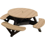 "Generations 51"" Round Picnic Table - Black Frame, Beige"