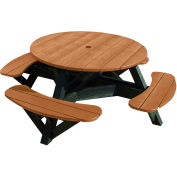 "Generations 51"" Round Picnic Table - Black Frame, Cedar"