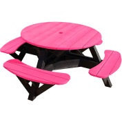 "Generations 51"" Round Picnic Table - Black Frame, Fuchsia"