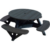 "Generations 51"" Round Picnic Table - Black Frame, Black"