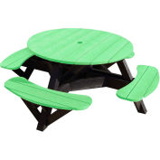 "Generations 51"" Round Picnic Table - Black Frame, Lime Green"
