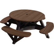 "Generations 51"" Round Picnic Table - Black Frame, Chocolate"