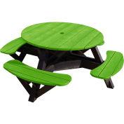 "Generations 51"" Round Picnic Table - Black Frame, Kiwi Lime"