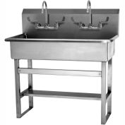 SANI-LAV 54FFL 2-Personfloor Mount Wash Station With Manual Faucets