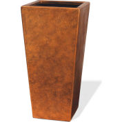 """OfficeScapesDirect 16"""" Fiberglass Tapered Square Container - Aged Copper"""