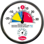 """Cooper-Atkins® Wall Thermometer, 212-159-8, 12"""", Cooler/Freezer, With Humidity Meter -Min Qty 3"""