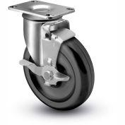 "Colson® 2 Series Swivel Plate Caster 2.04256.55 BRK1 - Polyolefin Top Lock Brake 4"" Dia. 275 Lb"