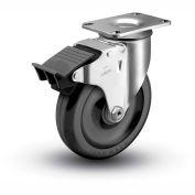 "Colson® 2 Series Swivel Plate Caster 2.04256.55 BRK5 Polyolefin Total Lock Brake 4"" Dia. 275 Lb"