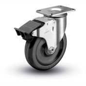 "Colson® 2 Series Swivel Plate Caster 2.05256.55 BRK5 Polyolefin Total Lock Brake 5"" Dia. 300 Lb"