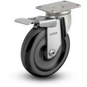 "Colson® 2 Series Swivel Plate Caster 2.05456.544 BRK4 Polyolefin With Brake 5"" Dia. 300 Lb."