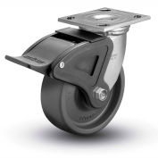 "Colson® 4 Series Swivel Plate Caster 4.04109.8P5.EN BRK4 Elastomer With Brake 4"" Dia. 1000 Lb."