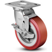 """Colson® 4 Series Swivel Plate Caster 4.05109.929 BRK7 SS Poly With Brake 5"""" Dia. 750 Lb."""