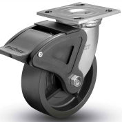 """Colson® 4 Series Swivel Plate Caster 4.06109.839 BRK2 SS Polyolefin With Brake 6"""" Dia. 700 Lb."""
