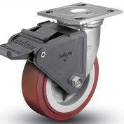 "Colson® 4 Series Swivel Plate Caster 4.06109.929 BRK2 SS Polyurethane With Brake 6"" Dia. 900 Lb"