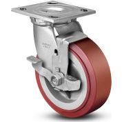 "Colson® 4 Series Swivel Plate Caster 4.06109.929 BRK7 SS Polyurethane With Brake 6"" Dia. 900 Lb"