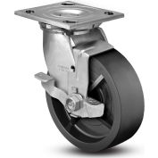 """Colson® 4 Series Swivel Plate Caster 4.08199.839 BRK7 SS Polyolefin With Brake 8"""" Dia. 900 Lb."""