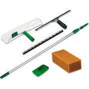 Pro Window Cleaning Kit w/8-Ft. Pole, Scrubber, Squeegee, Scraper, Sponge - UNGPWK00